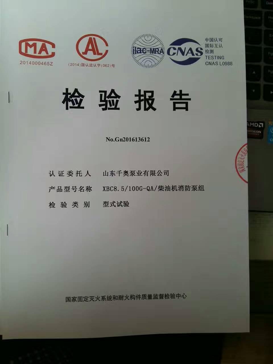 检测报告 XBC8.5/100-QA